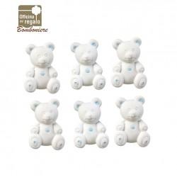 Gesso a forma di orsetto bianco e azzurro Bomboniere Battesimo