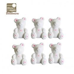 Gesso a forma di orsetto Bianco e rosa Bomboniere Battesimo