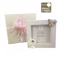 Portafoto in legno bianco con Albero della Vita e farfalle Bomboniere